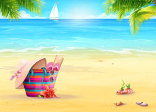 Summer illustration with a beach bag in the sand against the sea and white sailboat Stock Image