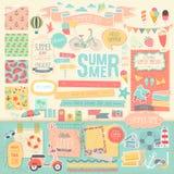 Summer scrapbook set - decorative elements. Royalty Free Stock Image