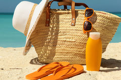 Sun protection items Stock Images