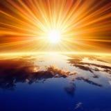 Sun sopra terra Fotografia Stock Libera da Diritti