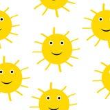 Sun symbol seamless pattern. Royalty Free Stock Photography