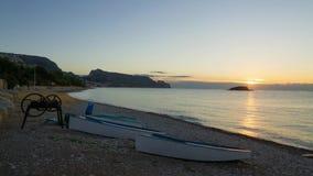 Sunrise on Altea bay stock video