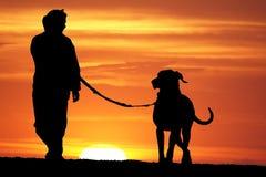 Sunrise Dog Walk Stock Photo