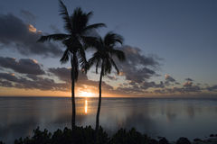 Sunset in the Cook Islands in the South Pacific Royalty Free Stock Photos