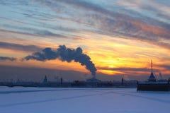 Sunset and smog Stock Image