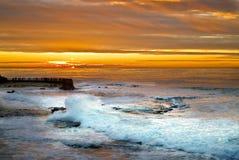 Sunset and Surf ,La Jolla, California Royalty Free Stock Photo