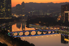 Sunset view of Shing Mun River with Christmas decoration at Shatin, Hong Kong on Dec 31, 2015 Royalty Free Stock Photos