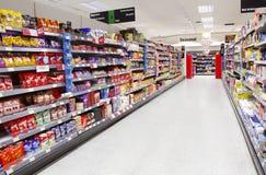Supermarket aisle empty Stock Photography