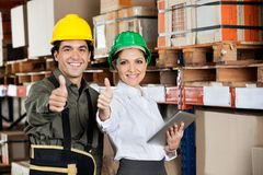 Supervisor And Foreman Gesturing Thumbs Up Stock Images
