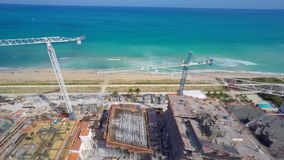Surf Club Construction site aerial video stock video footage