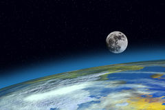 Surface Planet Earth and Moon Stock Photos
