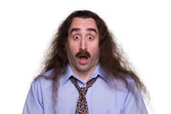 Surprised long haired Man2 Royalty Free Stock Image