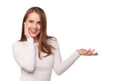 Surprised woman showing open hand palm Royalty Free Stock Image