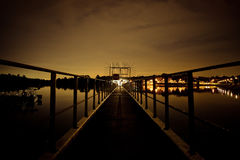 Surreal night by the reservoir Royalty Free Stock Photo
