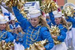 Swedish cheerleaders entertaining Royalty Free Stock Photography