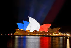 Sydney Opera House in colours of French Flag Royalty Free Stock Image
