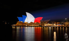 Sydney Opera House lit up in French Flag Colours Royalty Free Stock Image