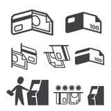 Symboler för vektor ATM, kassa-, kreditkort- och betalningställde in Royaltyfria Bilder
