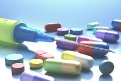 Syringe And Pills Stock Photo