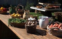 Table full of fresh garden variety vegetables Royalty Free Stock Photos