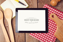 Tablet mock up template for recipe, menu or cooking app display Stock Photo