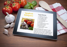 Tablet Spaghetti Italian Food Recipe Stock Images