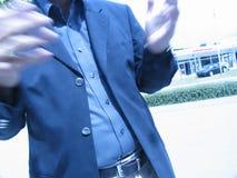 Tache floue d'entretien des mains de l'homme d'affaires Image libre de droits