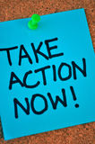 Take Action Now Note On Pinboard Stock Photography