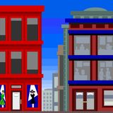 Tall buildings with a dress shop Stock Photo