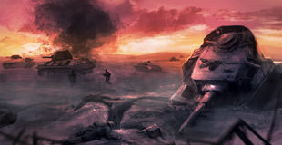 Tank war battle scene Royalty Free Stock Image