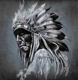 Tattoo art, portrait of american indian head Stock Photography