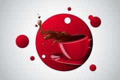 Tazza luminosa di colore di vettore della bevanda calda Fotografia Stock