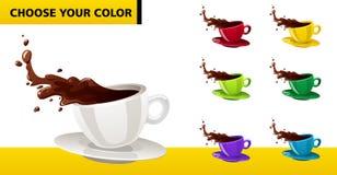 Tazze di caffè multicolori di vettore Immagini Stock Libere da Diritti