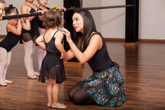 Teacher comforting a dance student Royalty Free Stock Photo