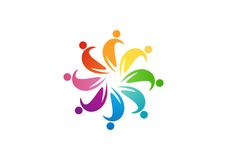 Team work logo design,circle people abstract,modern business,connection Royalty Free Stock Photo