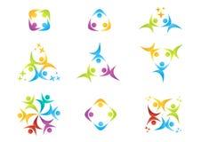 Team work, logo, education,people, celebration, partner symbol,group icon Stock Photos
