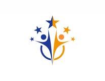 Team work logo,partnesrship,education,celebration people icon symbol Stock Photo