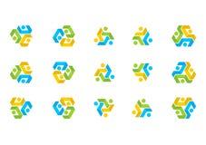 Teamwork connection Logo,illustration education Team,Social Network set design vector Stock Photos