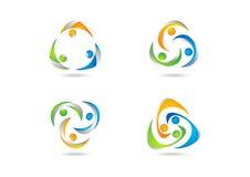 Teamwork, Logo, Social, education, Team, illustration, modern, Network, work logotype set vector design Royalty Free Stock Photography