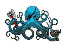 Tecknad filmbläckfisken piratkopierar med yxan och svärdet Arkivfoto
