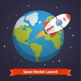 Tecknad filmutrymmeraket som lämnar jordens omloppsbana Royaltyfri Foto