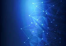 Tecnologia astratta blu Mesh Background con i cerchi, illustrazione di vettore Fotografia Stock Libera da Diritti