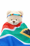 Teddy bear with South African Flag Royalty Free Stock Photography