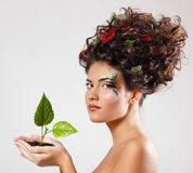 Teen girl beautiful ecology with green tree shoot Royalty Free Stock Photography