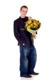 Teenager con il mazzo dei fiori Fotografie Stock Libere da Diritti