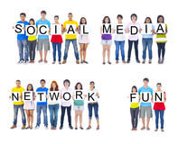 Teenagers Holding Placards to Form Social Media Network Fun Royalty Free Stock Photo