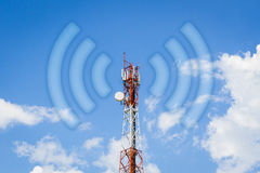 Telecommunication tower communication tower with wi-fi wave  Royalty Free Stock Photography