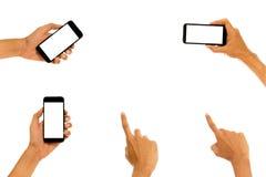 Telefon för hållande mobil för hand smart med den vita skärmen Royaltyfria Bilder