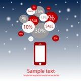 Telefon komórkowy sprzedaż z nowego roku tłem Zdjęcia Stock