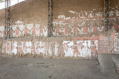 Temple of the Sun (Huaca del Sol). Large historic adobe temple from the Moche culture located close to Trujillo in Peru. Royalty Free Stock Image